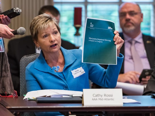 Cathy Rossi, AAA Mid-Atlantic's vice president for public and government affairs, speaks during the first meeting of the new Adult Use Cannabis Task Force in September.