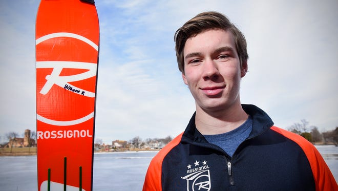 St. Cloud Tech junior Nathan Hilbert smiles Monday, Feb. 13, on the shore of Lake George in St. Cloud. Hilbert will compete at the state Alpine ski meet Wednesday at Giants Ridge in Biwabik.