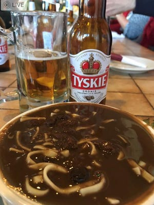 Czarnina is a sweet-sour soup made with duck blood, vinegar, and dried fruits.