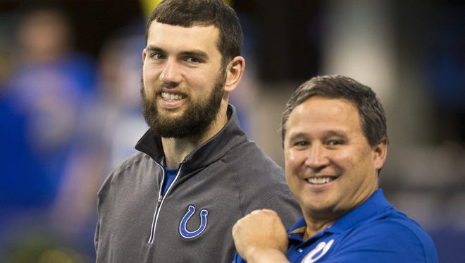 Andrew Luck (left), and Clyde Christensen, quarterbacks coach for the Colts, Lucas Oil Stadium, Indianapolis, Sunday, Dec. 20, 2015.