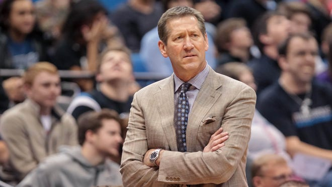 March 23, 2014; Minneapolis; Phoenix Suns coach Jeff Hornacek watches his team against the Minnesota Timberwolves at Target Center.