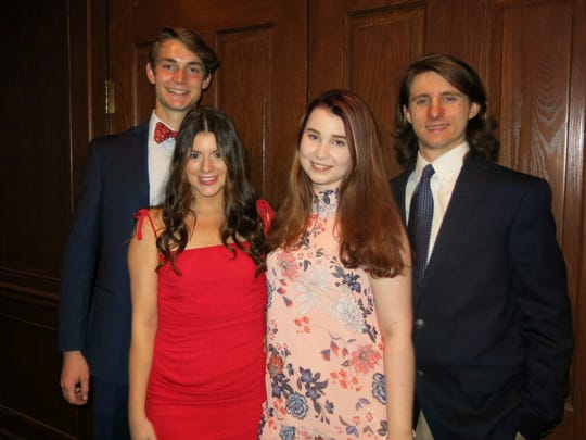 """Clifford H. LeBlanc IV, Demoiselle Debs/Honorees Margaret Armistead and Anna Marsalis and Ashton Hamm at """"Dinner and Dance Lessons"""" at the Shreveport Club."""