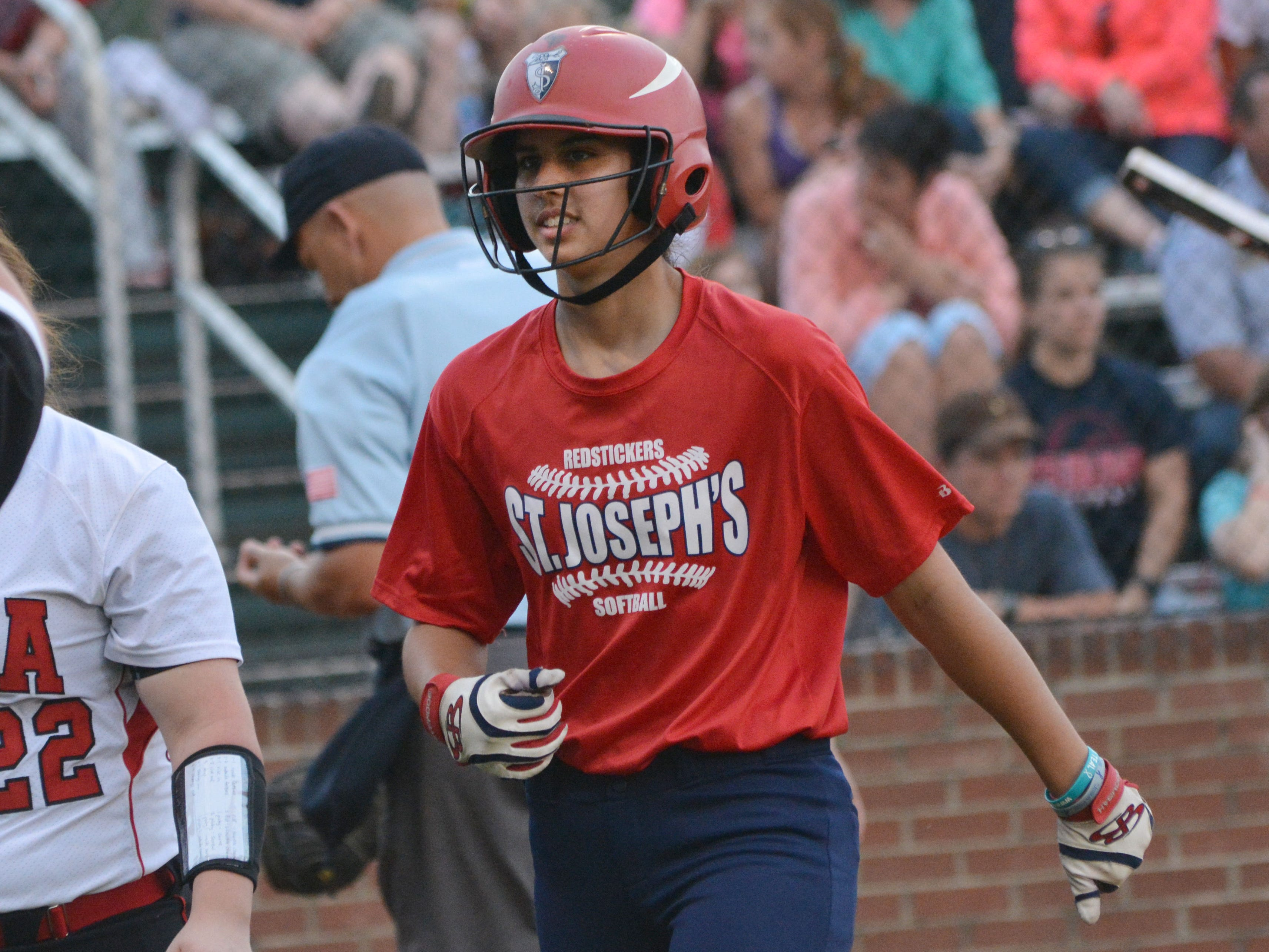 Elyse Thornhill of St. Joseph's Academy in Baton Rouge scored a homerun in the LHSAA Softball All Stars game played at the softball field at Louisiana College.