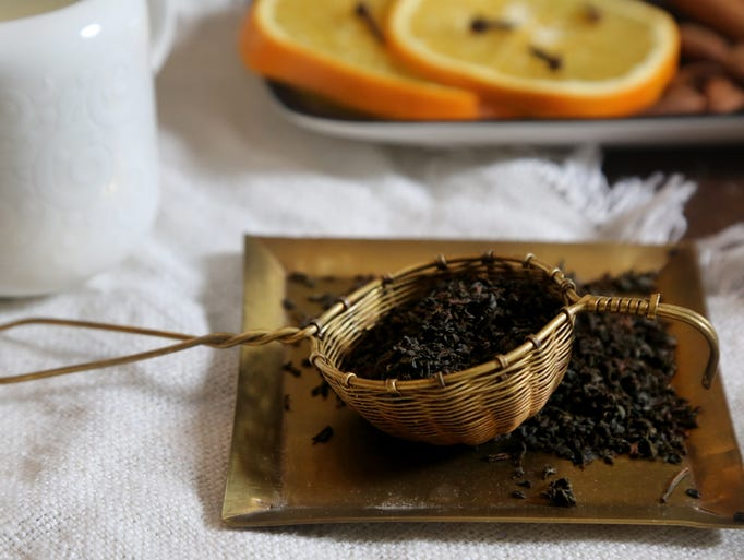 Loose-leaf Italian Grey tea is readied in preparation