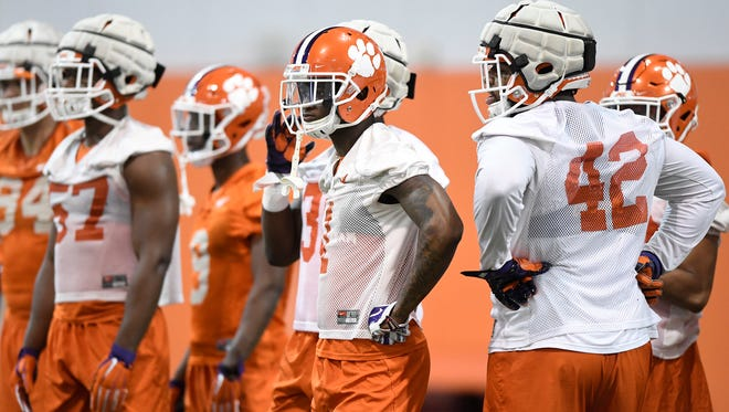 Clemson cornerback Trayvon Mullen (1) during the Tigers opening day of spring practice on Wednesday, February 28, 2018.