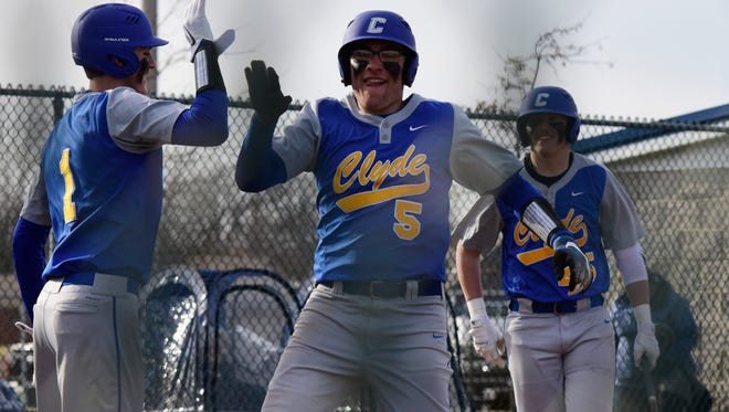 Clyde's Cayden Rollins had two hits Monday.