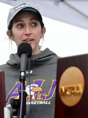 Ashland women's basketball head coach Robyn Fralick speaks during a rally on March 28, 2017 following a parade in honor of a perfect season and 2017 NCAA Division II National Championship.