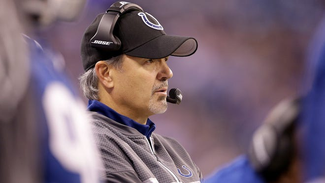 Indianapolis Colts head coach Chuck Pagano in the second half of  their NFL football game Sunday, December 11, 2016, afternoon at Lucas Oil Stadium. The Colts lost to the Texans 22-17.
