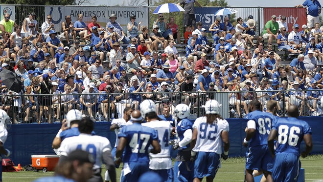 The Indianapolis Colts fans came out to watch their team on the first day of the Indianapolis Colts training camp Tuesday, July 27, 2016, morning at Anderson University in Anderson IN.