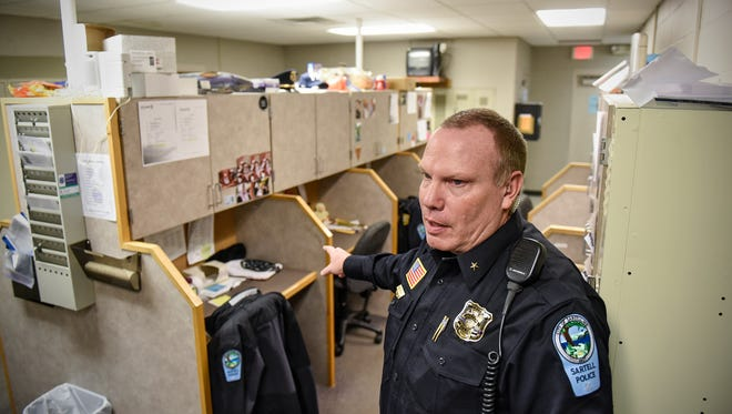 Sartell Police Department Chief Jim Hughes talks about cramped conditions in the department's squad room currently shared by 17 full-time officers Monday, Feb. 6, 2017, at the department's headquarters building in Sartell.