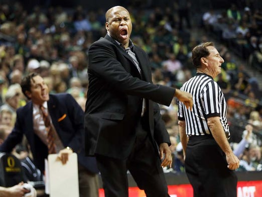 Beavers coach Craig Robinson shows his displeasure as Oregon hosts Oregon State in the Civil War basketball game at Matthew Knight Arena in Eugene. Robinson has been fired by OSU.