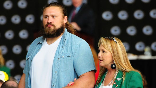 Packers guard Josh Sitton is introduced during the 51st annual Welcome Back Packers Luncheon at the Lambeau Field Atrium.