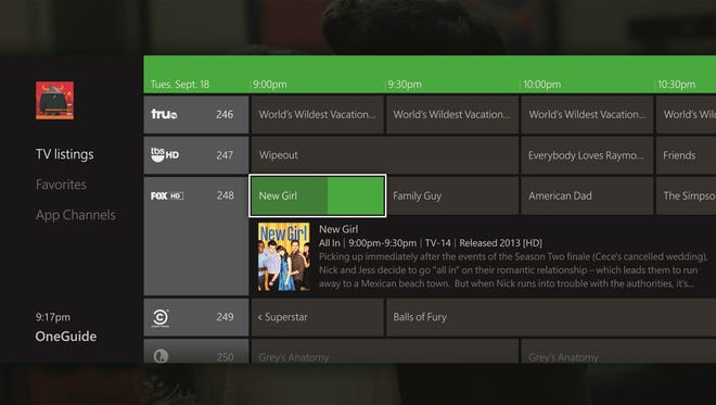 A screen shot of the Xbox One OneGuide menu with local TV channels shown.