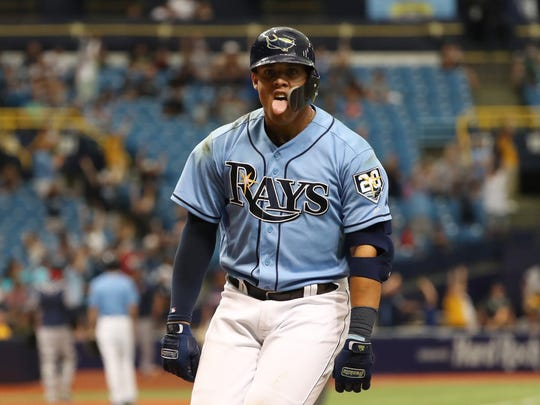 April 22: The Tampa Bay Rays' Carlos Gomez celebrates