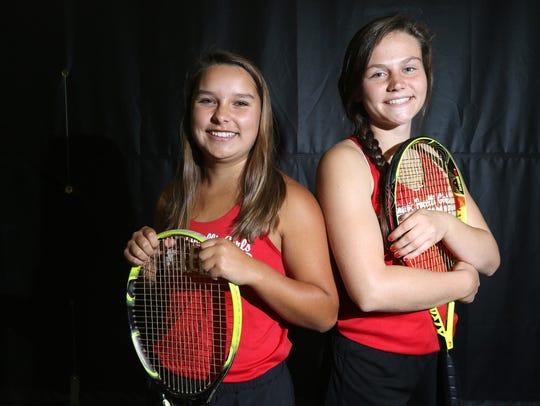 Pacelli doubles team members Anna Koehl and Julia Grygleski