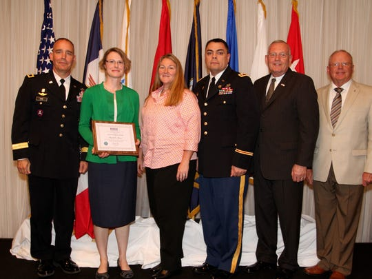 The city of Des Moines was selected for a State Chair Award by the the Employer Support of the Guard and Reserve. Pictured at the award presentation are Timothy Orr, Anna Whipple, nominator Tonia Fairbanks, Charles Fairbanks, Iowa ESGR State Chair Dick Rue and National ESGR Chair Paul Mock.