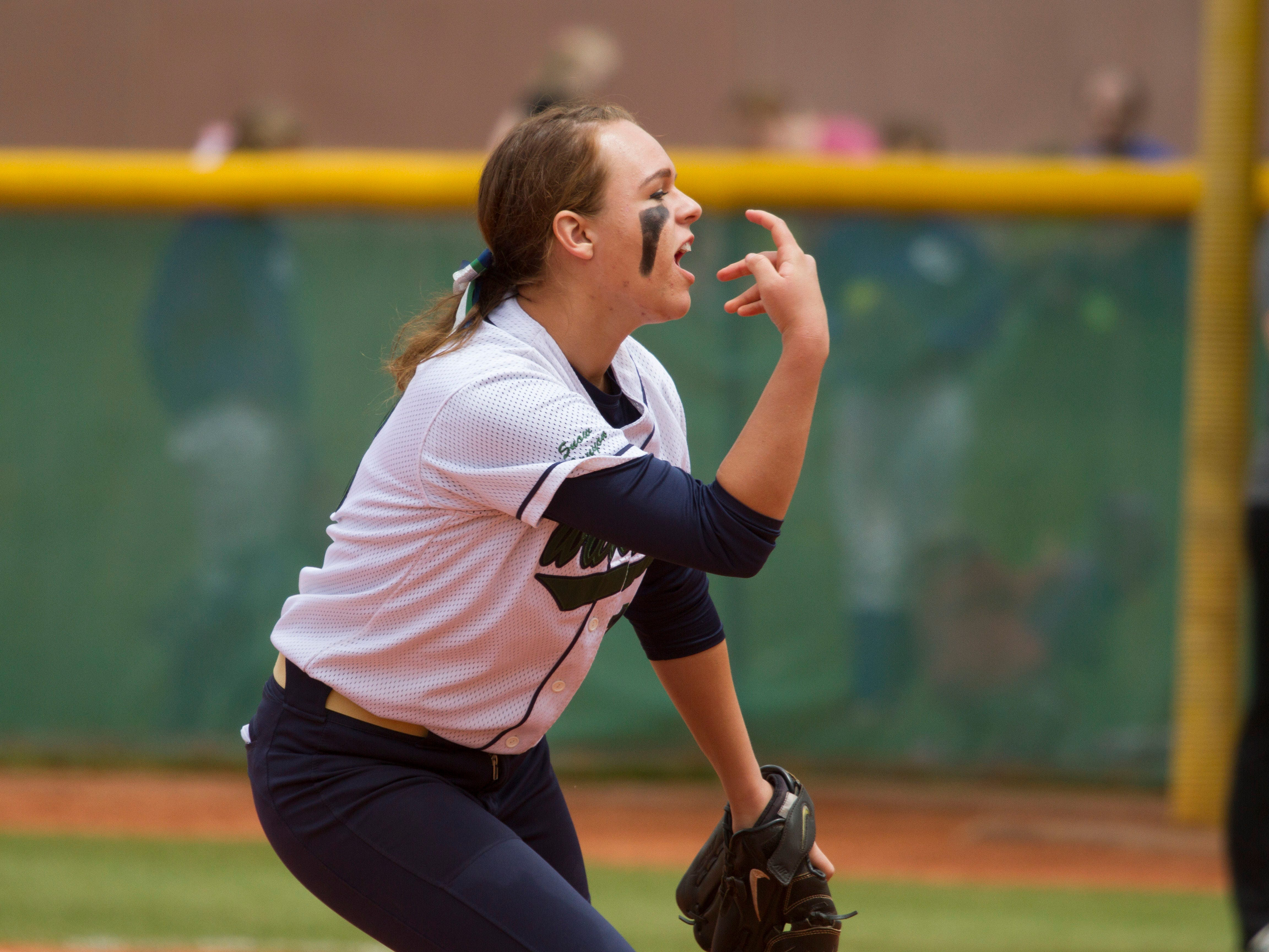 Snow Canyon pitcher Heather Prestwich throws against Morgan on Saturday.
