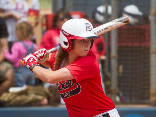 Dixie State infielder Josey Hartman bats against Sonoma State during the West Regional Championship on Saturday, May 16, 2015 in St. George.