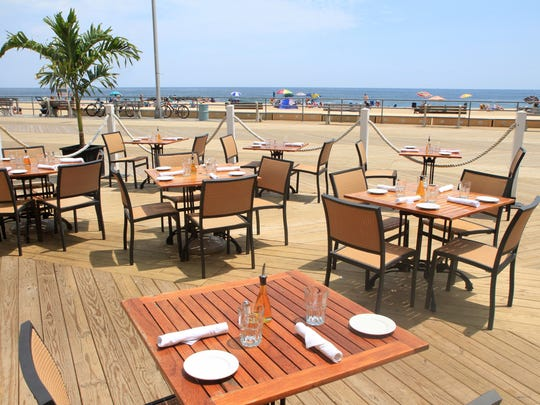 The outdoor dinning area at Stella Marina Bar & Restaurant on the Asbury Park boardwalk.