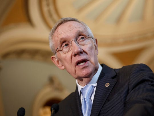 Harry Reid Senate Majority Leader Harry Reid, D-Nev., speaks with reporters following a Democratic policy lunch at the Capitol in Washington, Tuesday, Sept. 16, 2014. Reid is working to ensure that a nuclear waste dump in his home state of Nevada remains mothballed even though the government has spent $15 billion on it.