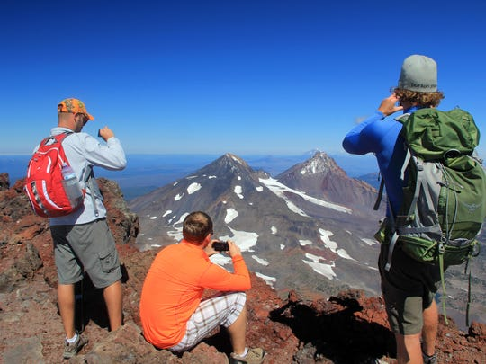 The summit of South Sister, which offers stunning views of Middle and North Sisters and other peaks in the distance, gets fairly crowded during sunny weekends in August and September.