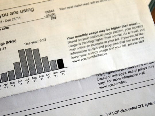 A bill shows the electricity use by a Rancho Mirage resident.