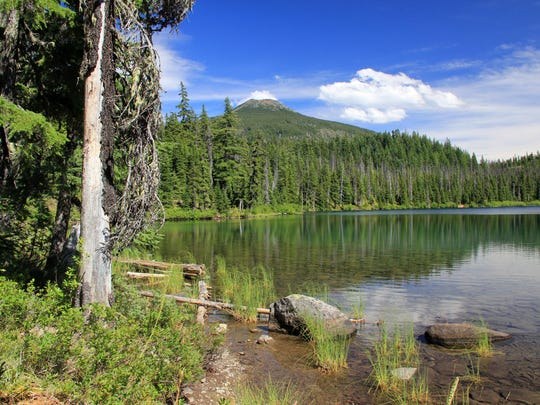 Lower Lake, which is almost 76 feet deep, sits below Olallie Butte in the Ollalie Lake Scenic Area.