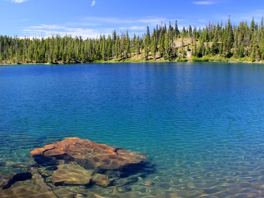 The crystal clear water of Gifford Lake in the Ollalie Lake Scenic Area.