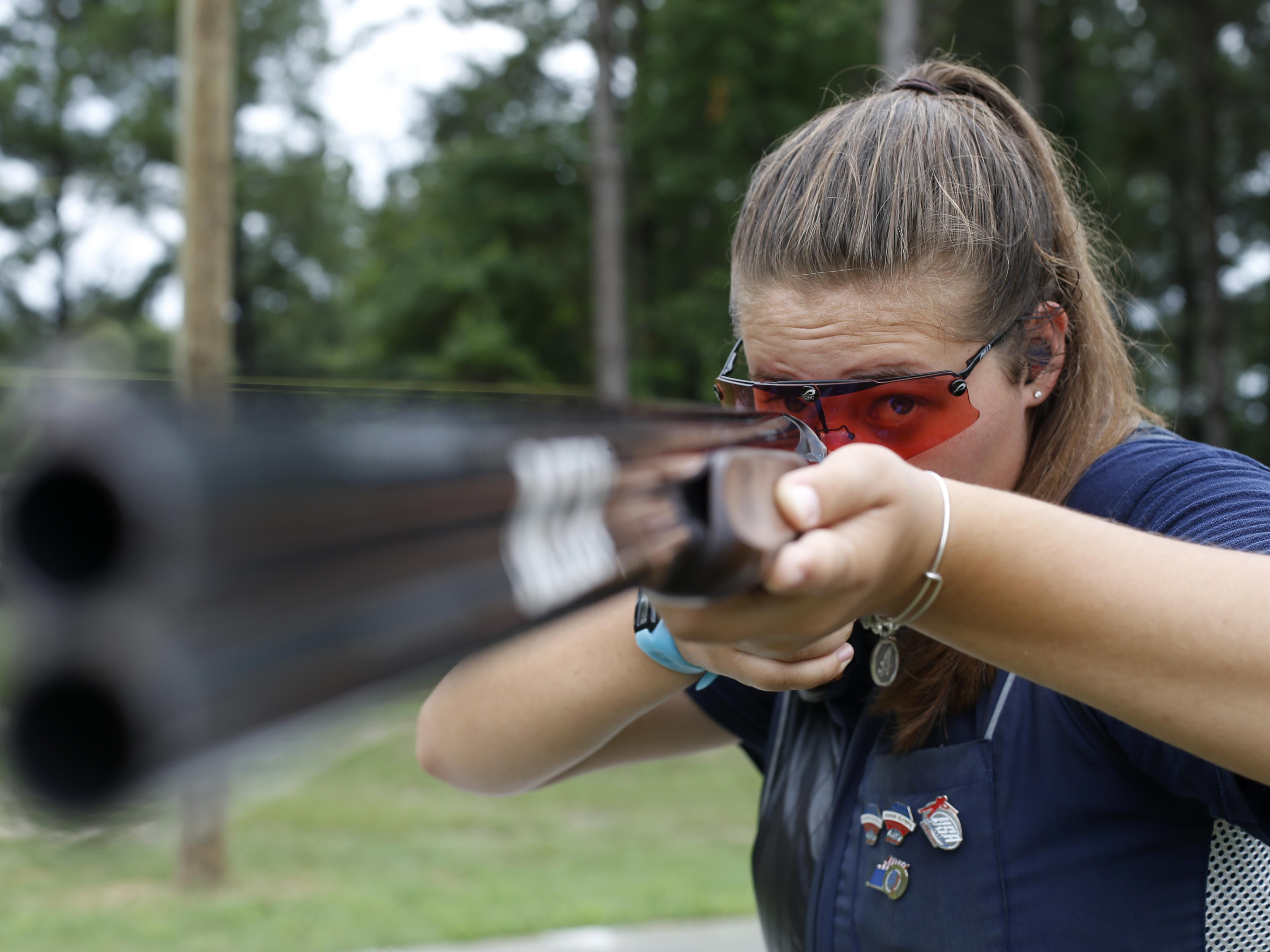 Abby Blakeley travels from her home in Tallahassee to the Bridge Creek Clays South Georgia Youth Shooting Club as many as four times a week to practice on the clay pigeon range there, a 140-mile round trip.