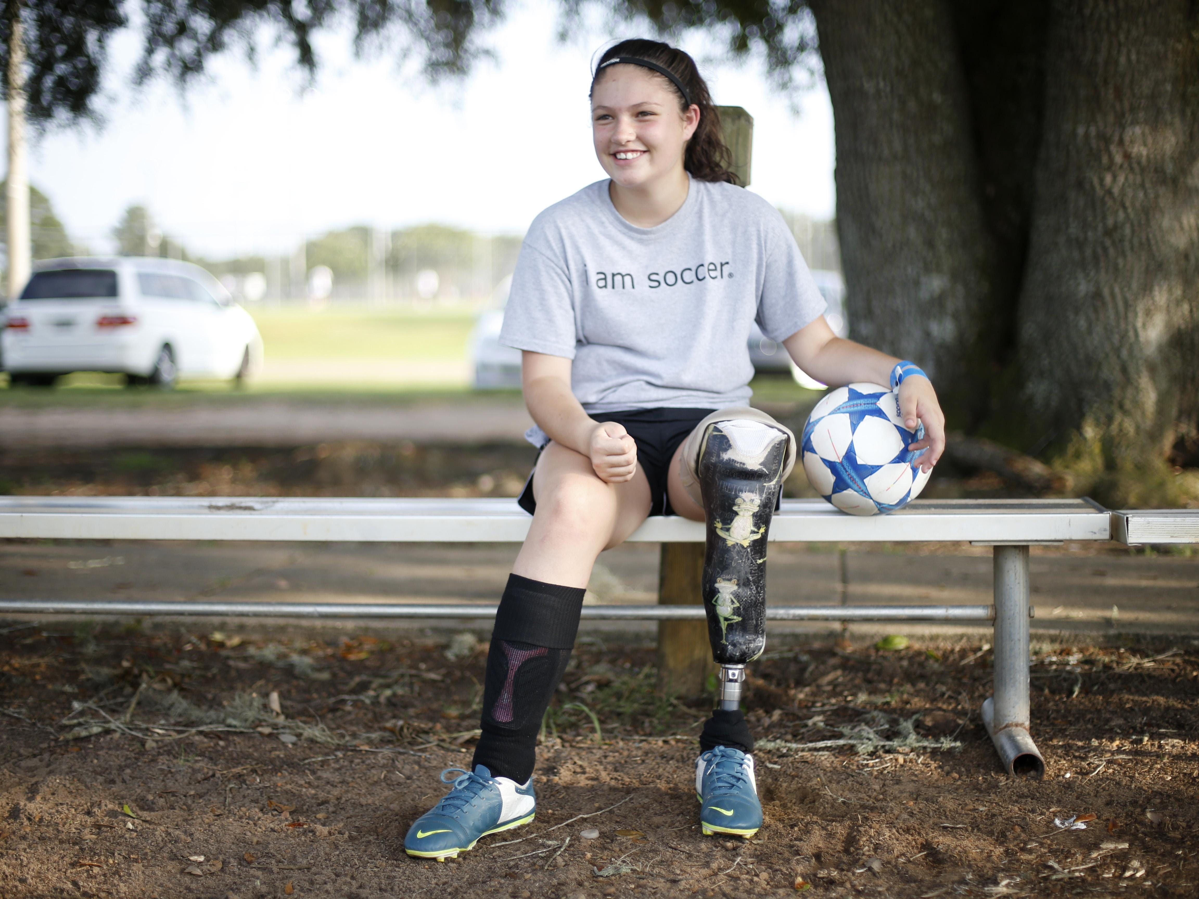 Erica Silvey, 13, has been playing soccer since she was 5 on a prosthetic that she has used nearly all of her life after having her leg amputated as an infant.