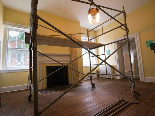 Designers have started their work for the designer showcase in September at the Kensey Johns House in New Castle, for example taping possible paint colors onto the walls at right in the original dining room of the home donated to the Sunday Breakfast Mission of Wilmington.