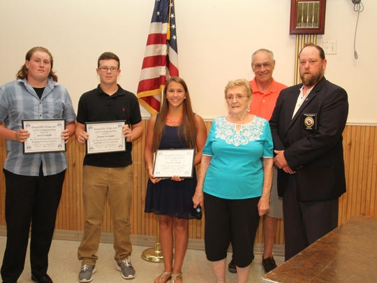 Left to right: Jared Canfield, Michael Kovalchick and Jessica Schmidt each received a $1,000 Scholarship Award from the Edison Elks 2487 Lodge and a $300 award from the Ladies Auxiliary. Schmidt also received the Elks National Foundation Legacy Award of $4,000. Also in the picture (left to right) are the Lodge Charity Committee Persons, Helen Holeman and Henry Santos, with Exalted Ruler Doug Pearson. The lodge also hosted a pizza party for the scholarship winners and their families.