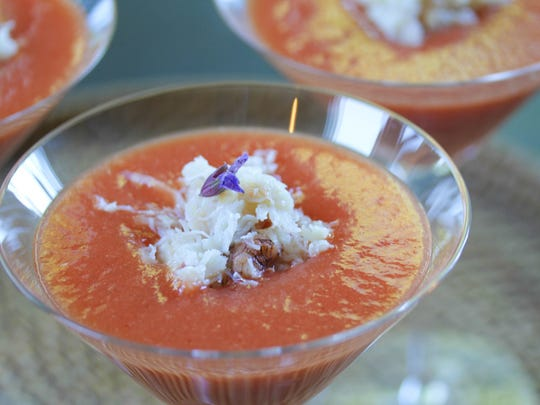 Thai Watermelon and Mango Soup with Dungeness Crab
