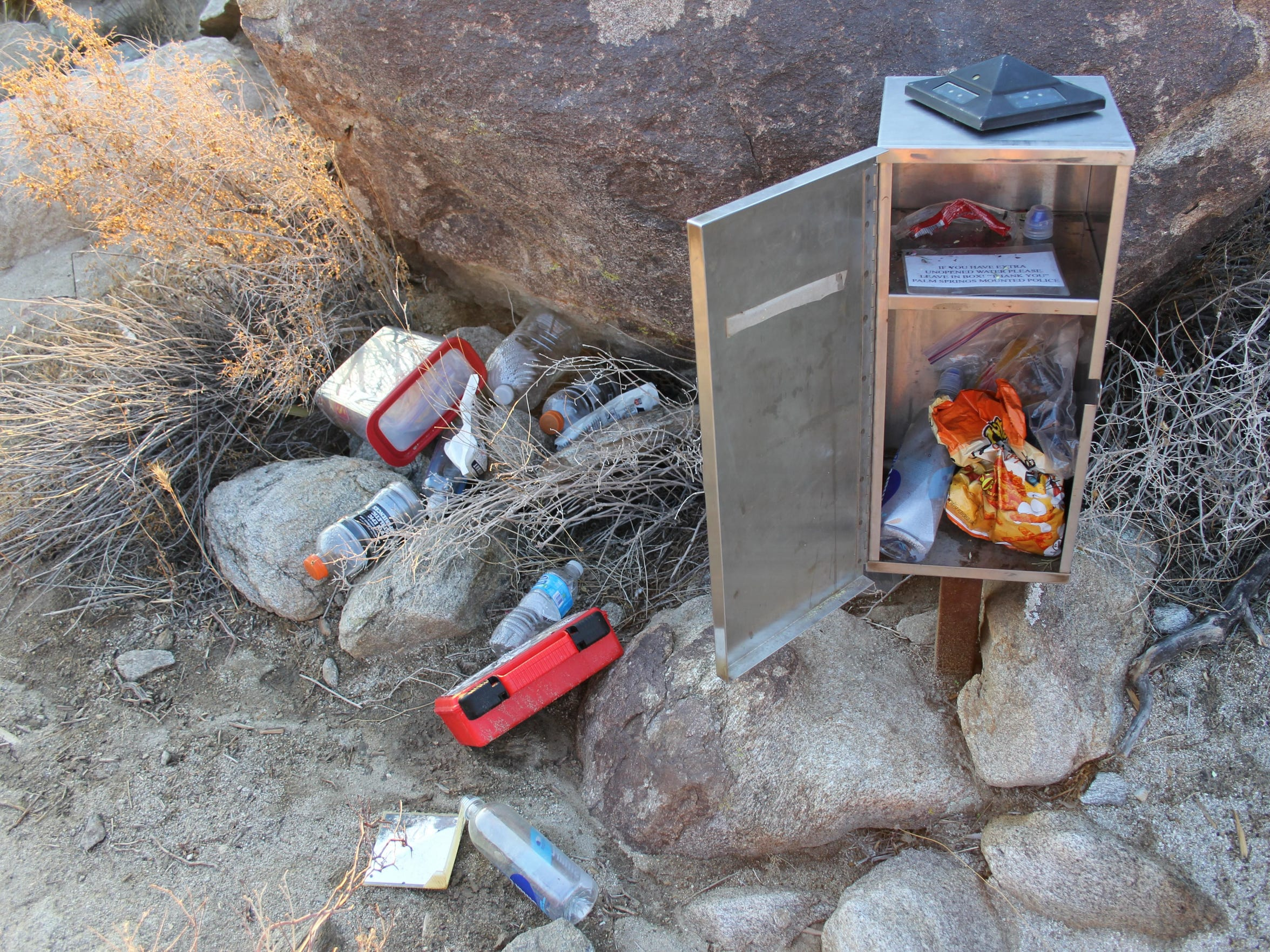 The rescue boxes on the Skyline Trail have become nearly useless after being raided on a weekly basis by hikers not in serious trouble.