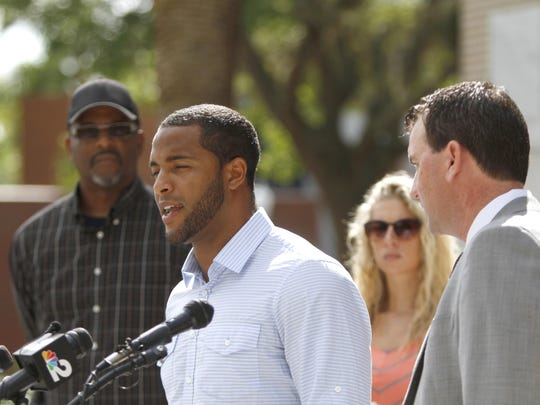 Nate Allen, who is suing the Fort Myers Police Department for being wrongfully arrested, speaks to the media Friday, July 24.
