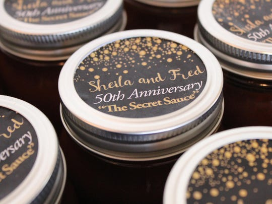 Sheila's special barbecue sauce, made by the couple's children, was the party favor at the Aug. 7 anniversary gala.