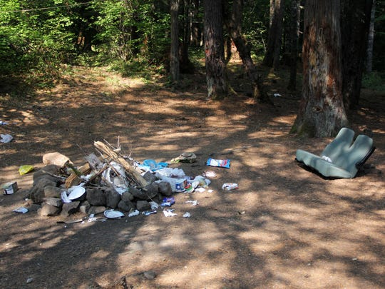 Garbage at the day-use site near Lower Breitenbush Hot Springs northeast of Detroit.