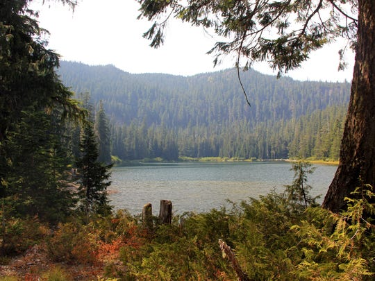 Tumble Lake shimmers in Willamette National Forest north of Detroit.