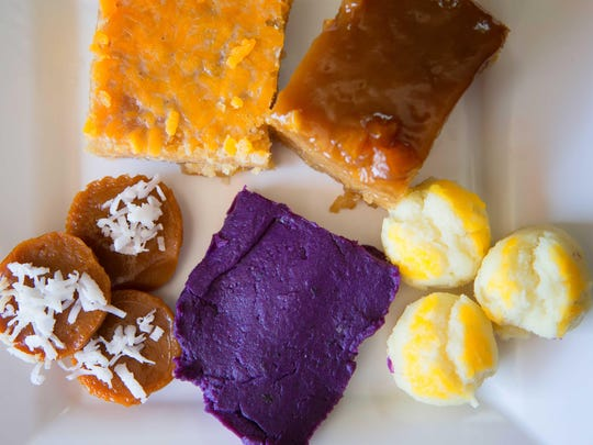 An assortment of desserts such as cassava cake, biko, kutchinta, halaya, and puto with cheese are pictured at a Filipino restaurant in Maryland.