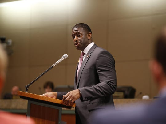 Mayor Andrew Gillum at the city's final public budget hearing in September.