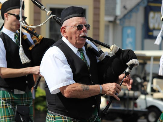 The West Side Irish American Club Pipe Band, sponsored by Hooligan's, celebrates Halfway to St. Patty's Day at Put-in-Bay.