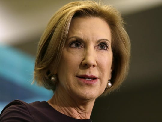 Republican presidential candidate Carly Fiorina speaks during the Quad Cities New Ideas Forum, Friday in Davenport, Iowa.