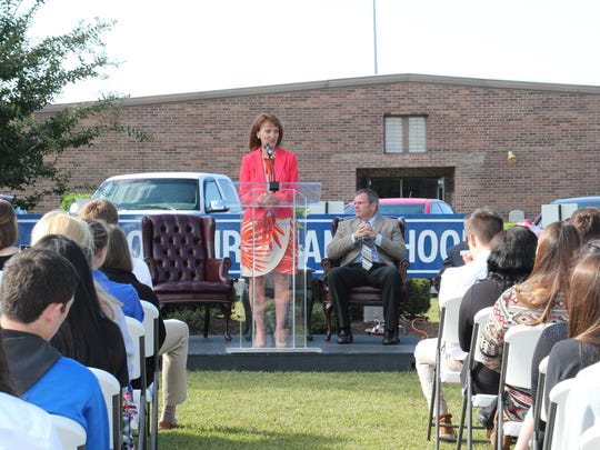 Speaker of the Tennessee House Beth Harwell also spoke to students at Jackson Christian on Thursday morning.