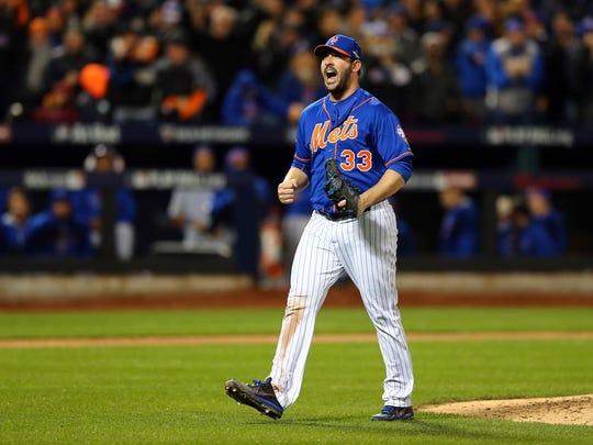 NEW YORK, NY - OCTOBER 17: Matt Harvey #33 of the New York Mets reacts after closing out the top of the seventh inning against the Chicago Cubs during game one of the 2015 MLB National League Championship Series at Citi Field on October 17, 2015 in the Flushing neighborhood of the Queens borough of New York City. (Photo by Elsa/Getty Images)