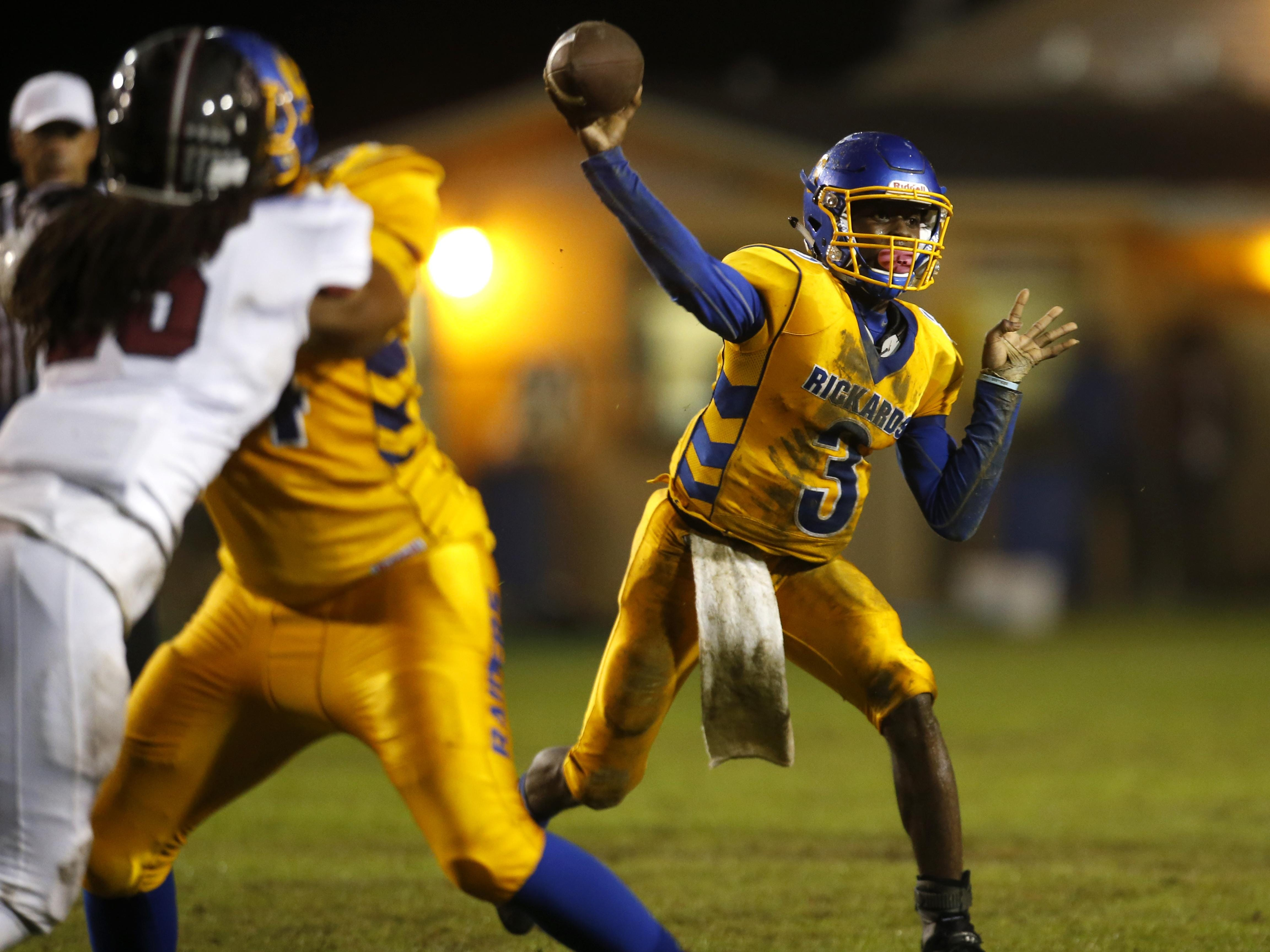 Rickards sophomore quarterback Marcus Riley has the Raiders' offense clicking heading into a playoff game at West Florida.