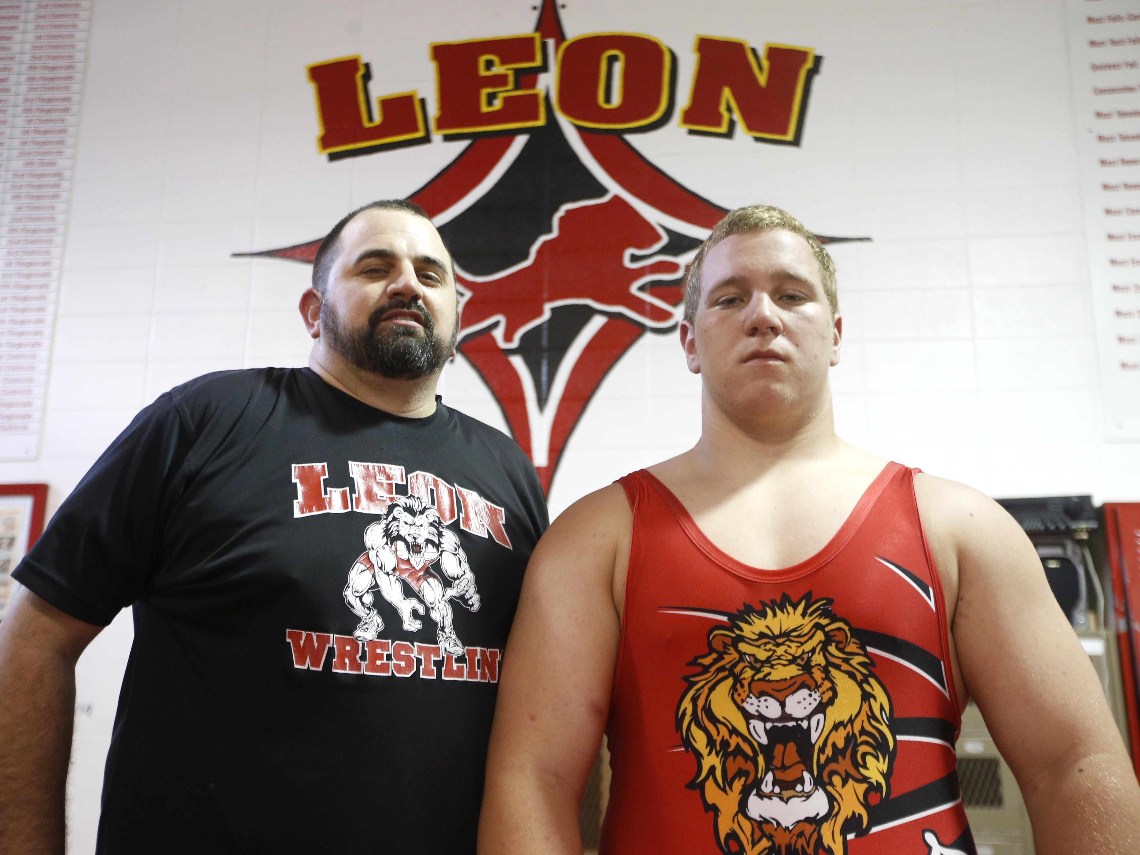 Joe Rondone/Democrat Leon's Gabe Beyer, right, was named All-Big Bend Wrestler of the Year, while Leon's Chuck Ringel was named Coach of the Year. See complete All-Big Bend Wrestling team on Page 3D. Wrestler of the Year Gabe Beyer with his coach at Leon High School, Coach of the Year Chuck Ringel.