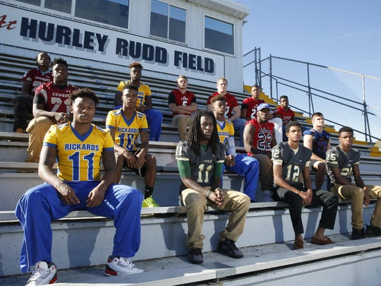 2015 All-Big Bend football first team defense. Front row, from left: Gabe Kenon (Rickards), Larry Stevens (Lincoln), Kalil Clark (Lincoln), Vincent Johnson (Lincoln); Second row, from left: Kevin Kegler (Madison County), Javon Wooten (Rickards), Tavyn Jackson (Rickards), Monterious Loggins (Wakulla), Nathan Kallschmidt (Taylor County); Third row, from left: Back row, from left: Kenny McQuay (Madison County), Jordan Brownlee (Rickards), Joey Grant (Leon), Defensive Player of the Year Gabe Beyer (Leon), Henry Segura (Leon), Jay Harrison (NFC); Not pictured: Cedric Wood (Godby), Steven Matthews (Blountstown), Trevon Matthews (Blountstown)