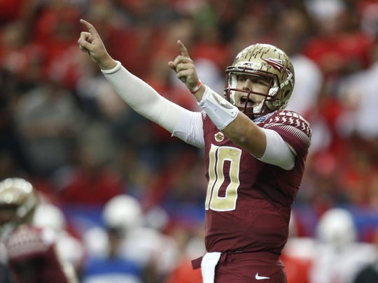 Florida State's Sean Maguire threw four interceptions during the Seminoles' loss to Houston in the Peach Bowl in Atlanta on Saturday.