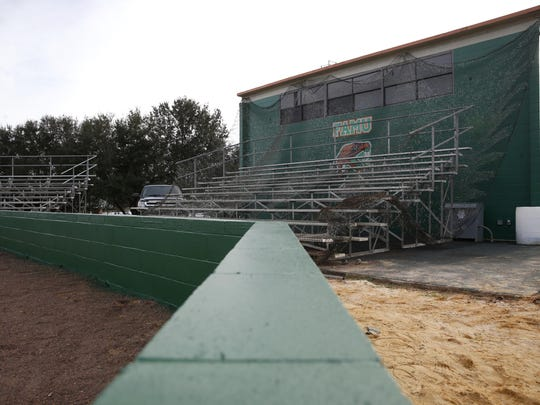 A new backstop wall with netting, under construction at FAMU's Moore-Kittles Field Wednesday, is set to be completed before the upcoming baseball season.