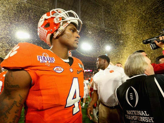 Clemson's Deshaun Watson looks on after his team was beat for the national title by Alabama on Monday.